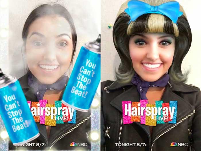 NBC's Hairspray sponsored filter on Snapchat